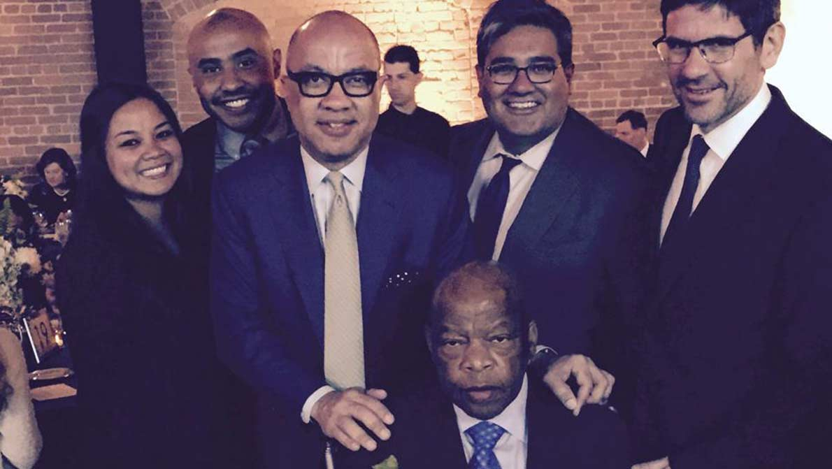 Ford Foundation staff with Congressman John Lewis (seated). This image is not available under the 4.0 Creative Commons license.