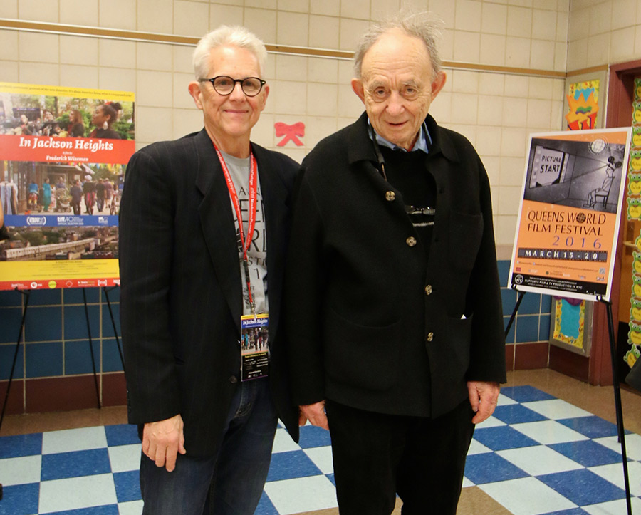 Don Cato (left), artistic director of the Queens World Film Festival, with director Frederick Wiseman. © Rodrigo Salzar