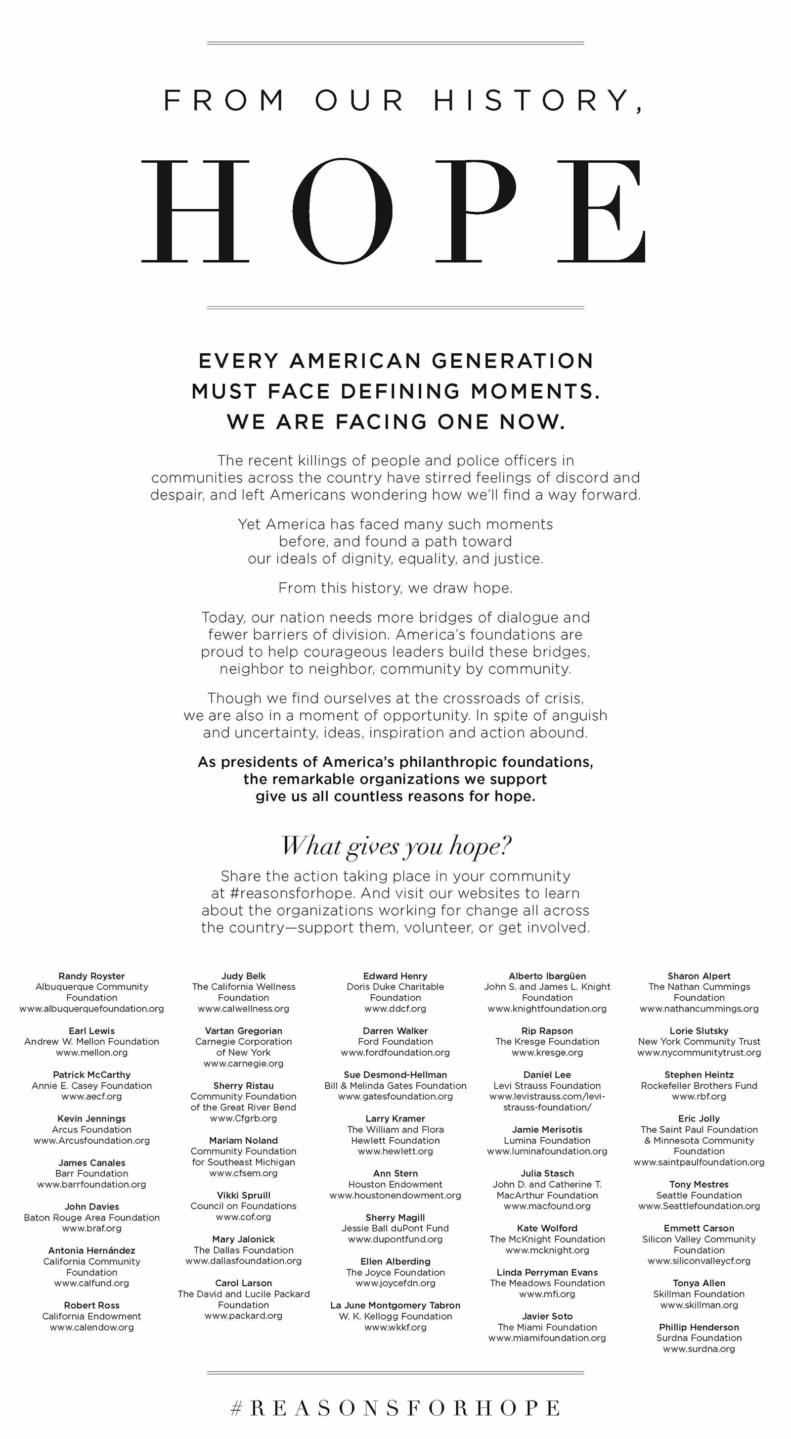 #ReasonsForHope newspaper ad