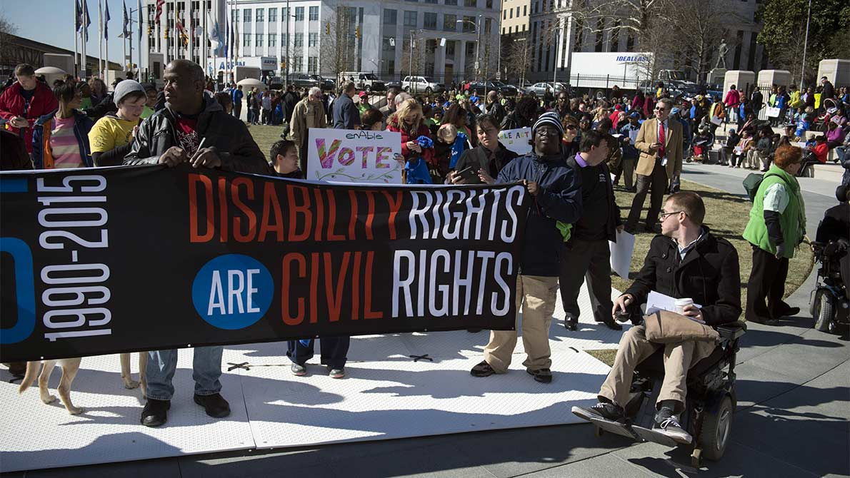 Several thousand Georgia residents with intellectual and physical disabilities and disability rights advocates gather outside the Georgia statehouse for 2016 Disability Day, celebrating 25 years of the federal Americans With Disabilities Act.