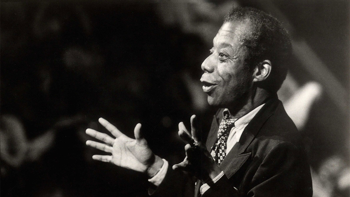Author James Baldwin speaking about American racism to a predominantly black audience at UCSD in 1979.