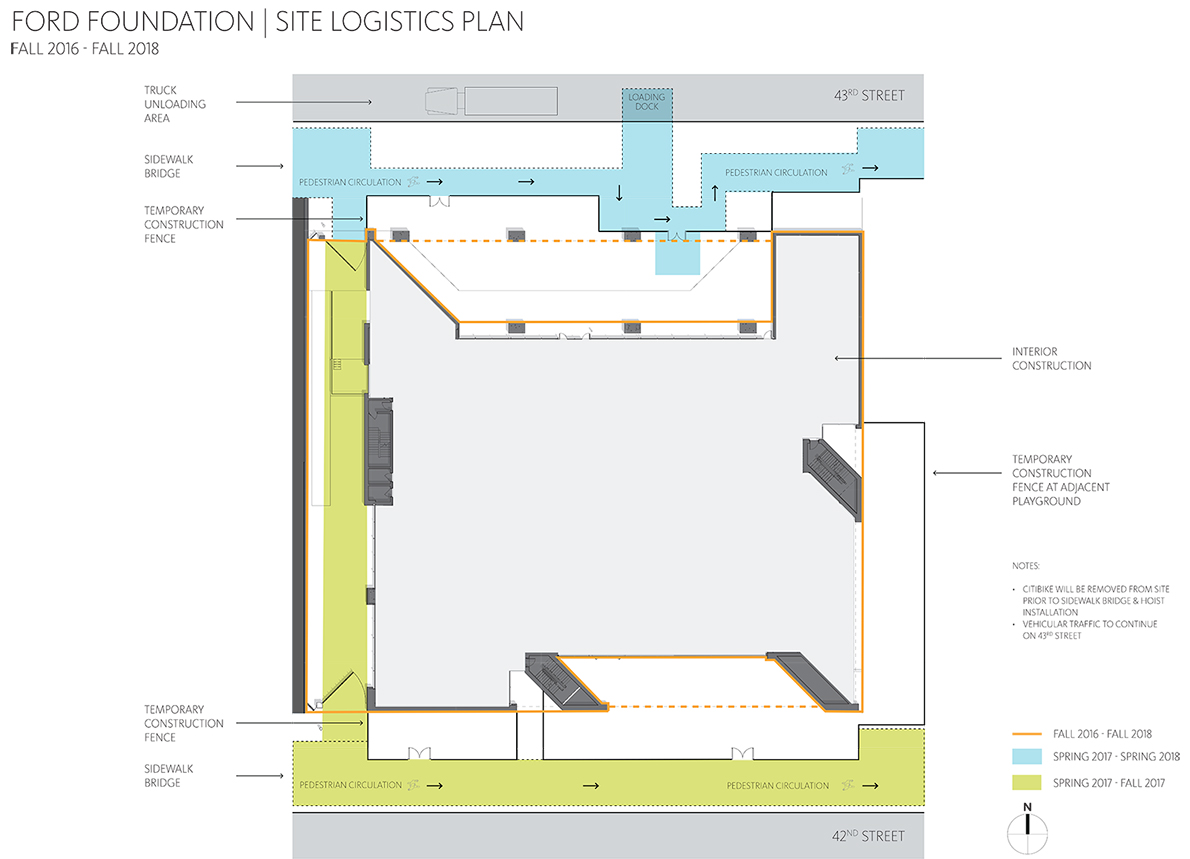 Ford Foundation building site logistics plan